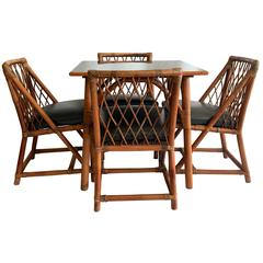 1950s Tommi Parzinger for Willow & Reed Nine Piece Rattan Dining Set