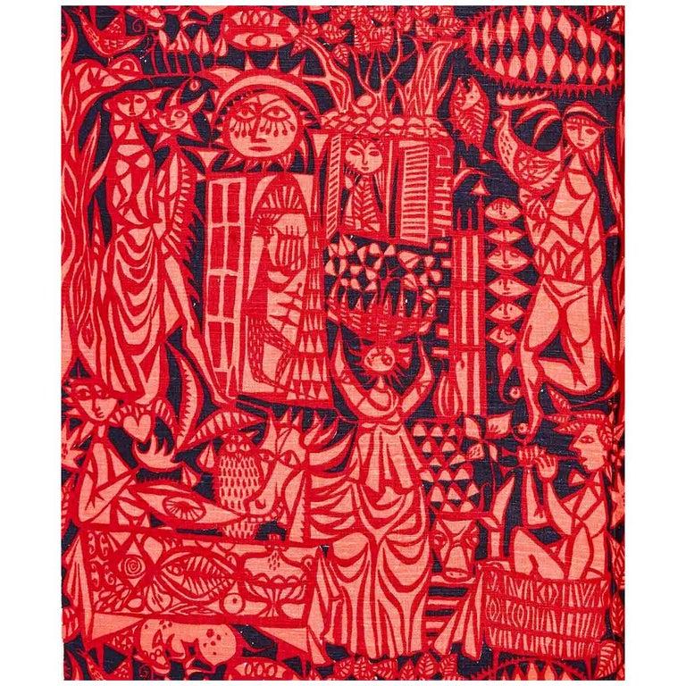 """Comedia"" Textile by Stig Lindberg For Sale"