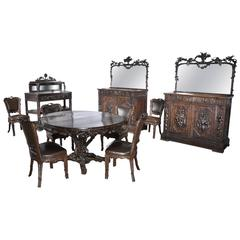 """Horrix Attributed to, Important """"Black Forest"""" Style Dining Room Furniture"""