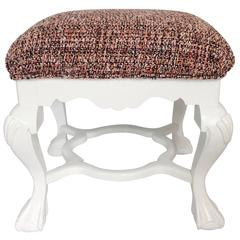 1950s Queen Anne-Style White Lacquer Upholstered Bench or Ottoman