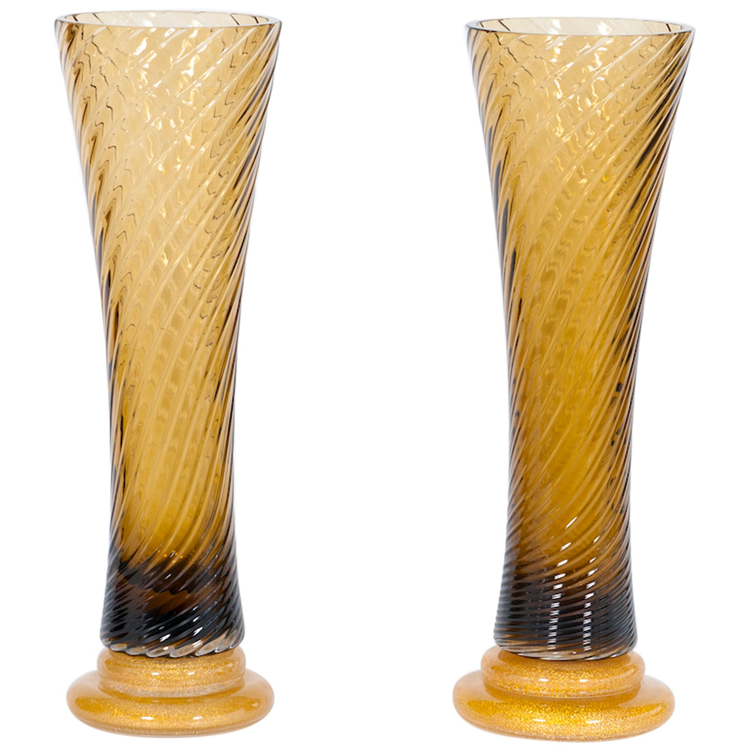 Giant Pair of amber and gold Glasses Vase in blown Murano Glass 1980s