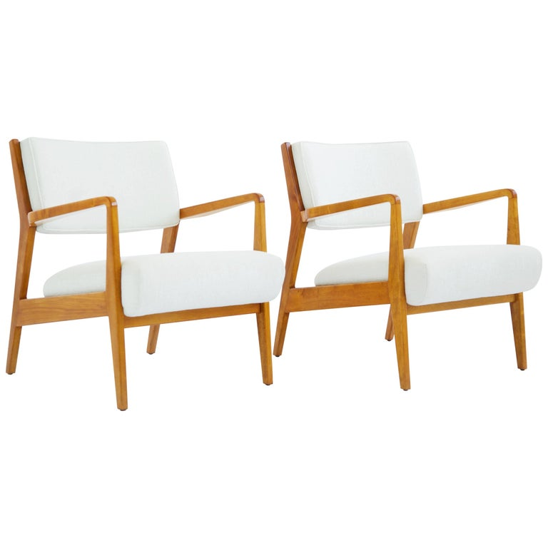 Pair of Early Jens Risom Lounge Chairs For Sale