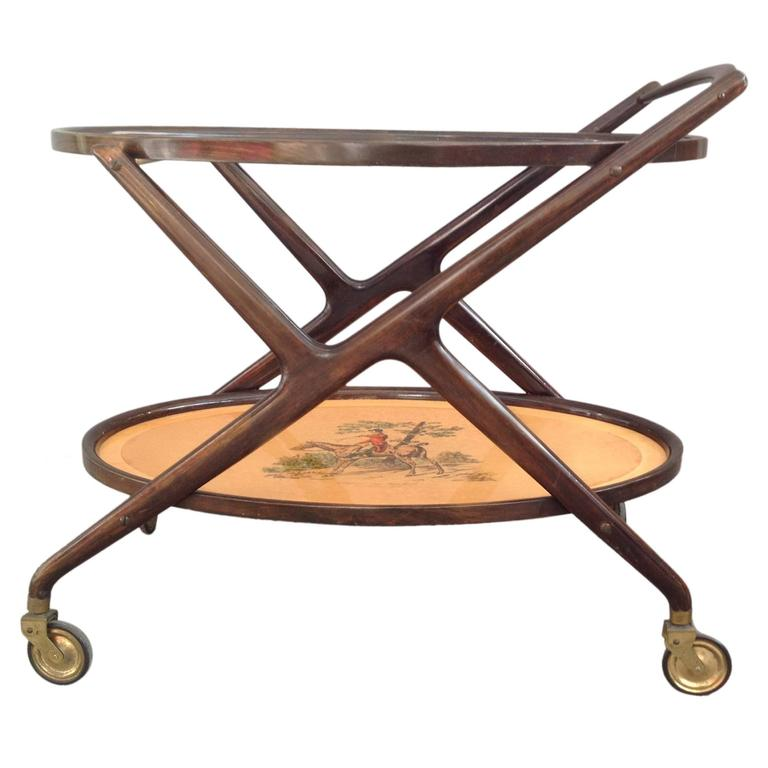 Rare Oval Bar Cart Attributed to Cesare Lacca