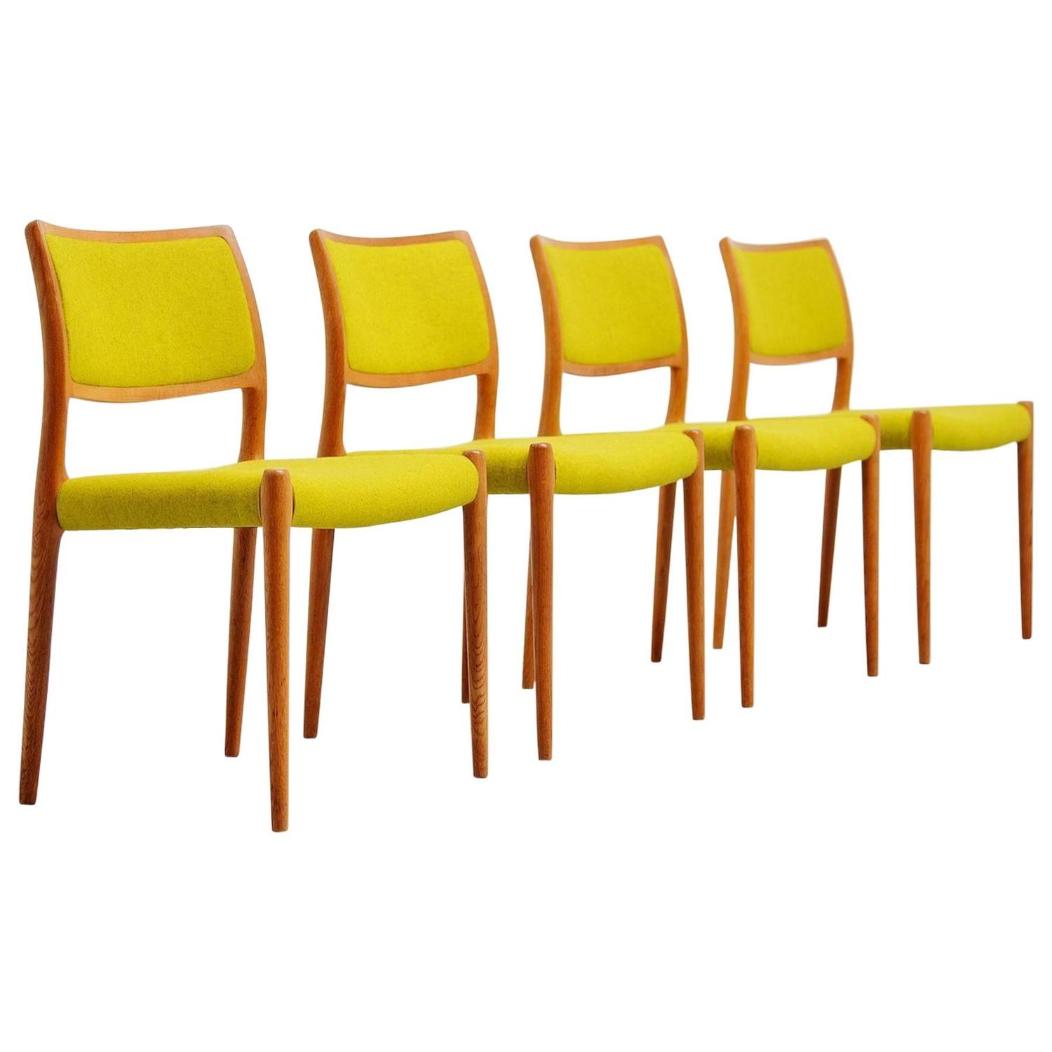 Niels Moller Model 80 Chairs In Oak Denmark 1968 For Sale At 1stdibs