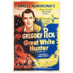 "Original 1952 Full Size Movie Theater Poster Hemingway's, ""Great White Hunter"""