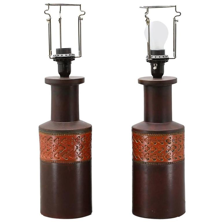 Pair of Ceramic Table Lamps by Aldo Londi for Bitossi