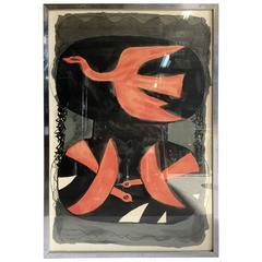 """1960s Georges Braque """"Trois Oiseaux Rouges"""" Lithograph Paris, France"""