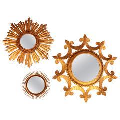 Set of Three Spanish Mid-Century Modernist Sunburst Mirrors