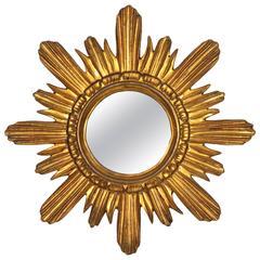 Spanish 1960s Giltwood Sunburst Mirror