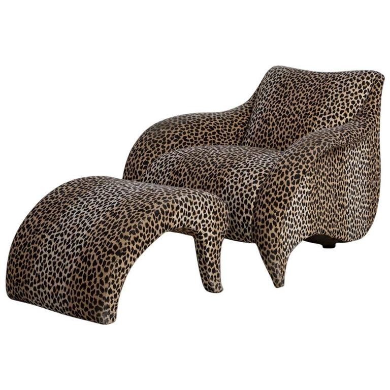 Leopard Print Chair And Stool By Vladimir Kagan For Sale