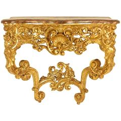 Louis XV Giltwood Carved Console Table