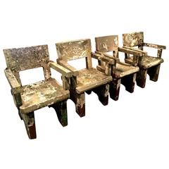 Outstanding Set of Four Painted French Concrete Garden Armchairs