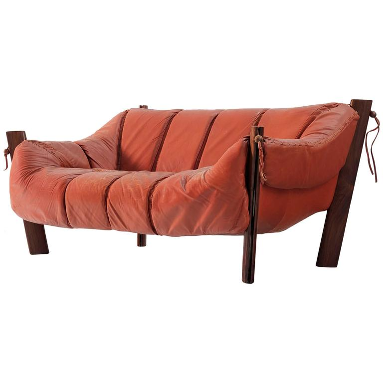 Percival Lafer Two-Seat Sofa in Rosewood and Leather