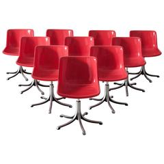 Set of Ten Red 'Modus' Chairs for Tecno, Italy