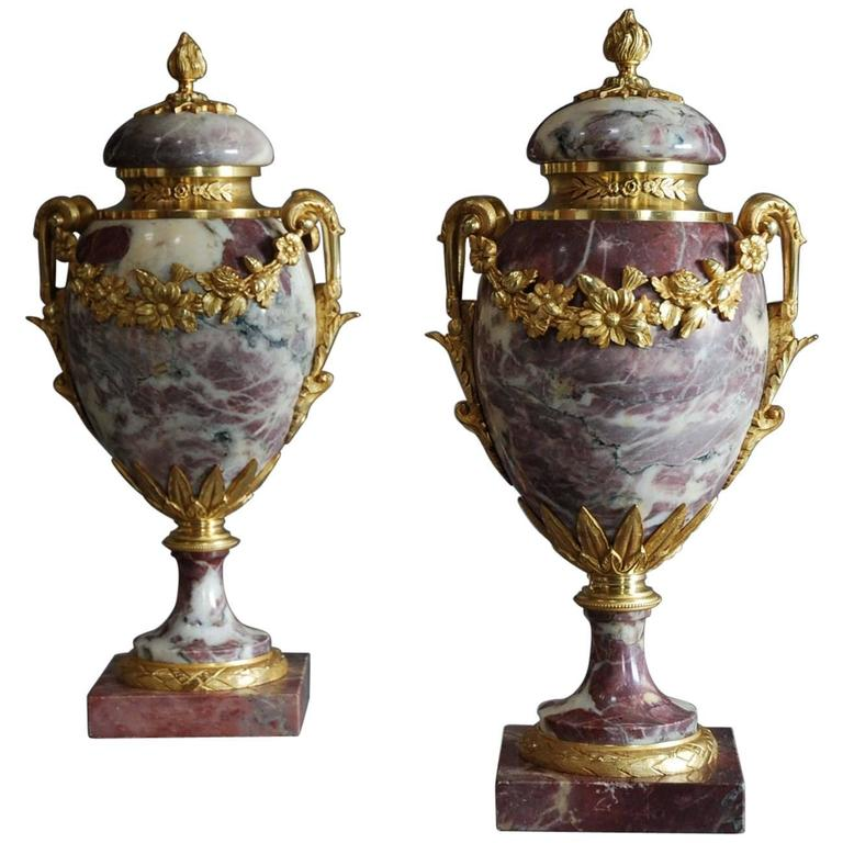 Pair of Late 19th Century Fine Quality Marble and Ormolu Cassolettes