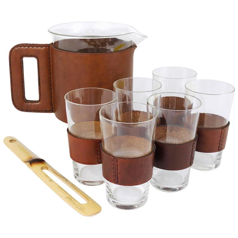 Carl Auböck Leather Pitcher, Six Glasses and Bamboo Stirrer, Austria, 1950s