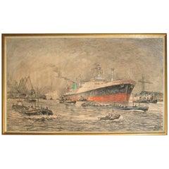 Harbour Scene with Oceanliner by Molenaar
