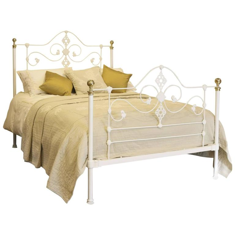 Victorian Cast Iron Beds : Mid victorian cast iron bed in white at stdibs