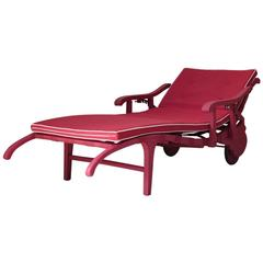 Red Wooden Sun Lounger, France, circa 1930s