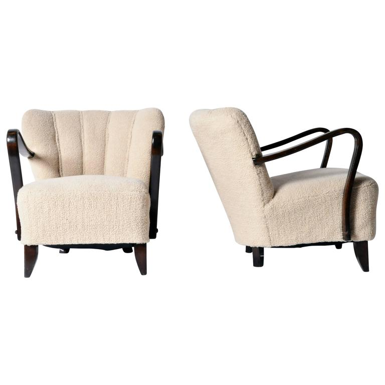 "Pair of Art Deco ""Tulip"" Open Armchairs"