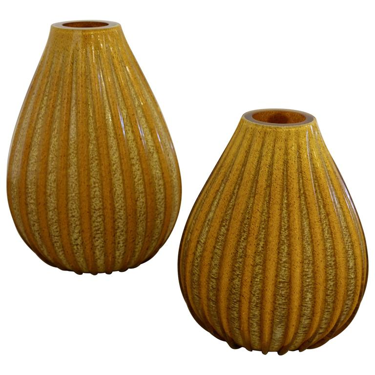 Pair of Vintage Murano Glass Vases by Vetri Artistic