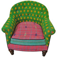 Vintage French Chair Newly Upholstered in Vintage Kantha Quilts from India