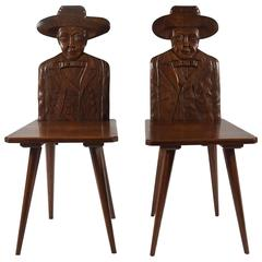 Exceptional Pair of Early French Modernist 'Cowboy' Hall Seats, circa 1920