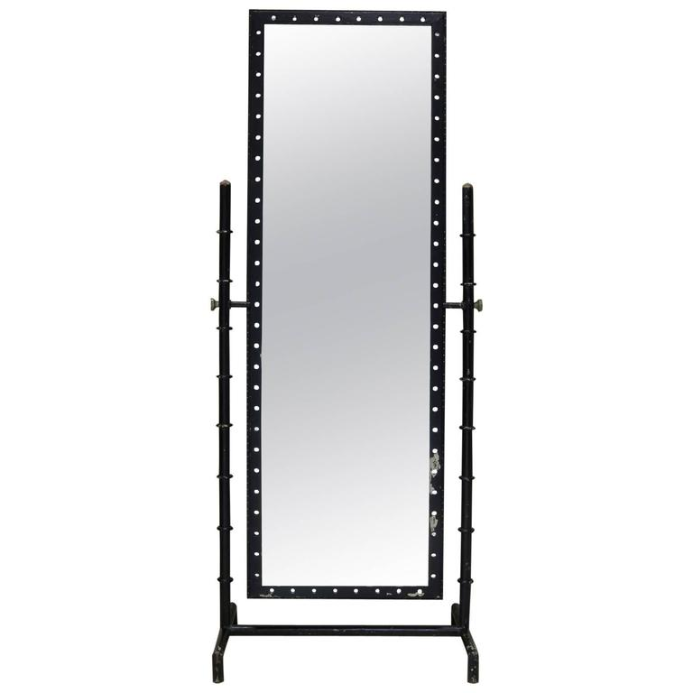 Modernist Iron Cheval Mirror, France, circa 1950s