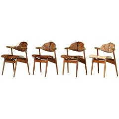Four Goat fur Upholstered Vintage Cow Horn Chairs Holland 1950s Brass Horns