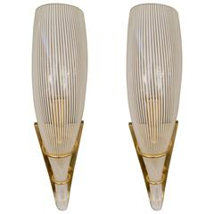 Pair of Mid-Century Italian Murano Glass Sconces in Brass Holders