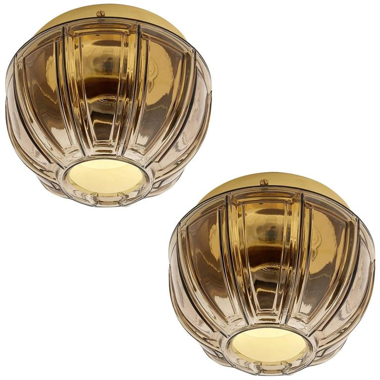 Pair of Limburg Flush Mount Lights or Sconces, Brass and Brown Glass, 1960s