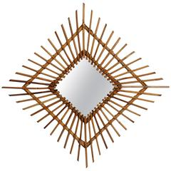 Spanish 1960s Wicker Rhombus Mirror