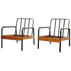 Pair of French Easy Chairs after Jean Prouve