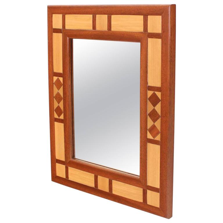 Mid-Century Modern Two-Tone Teak Mirror