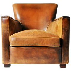Petite Distressed Leather Club Chair