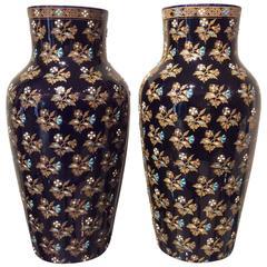 Pair of Gien Porcelain Vases with Floral Enamel Decor, 19th Century