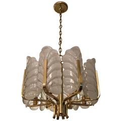Carl Fagerlund Glass Leaves Brass Chandelier by Orrefors, 1950s