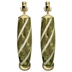 Pair of Mid-Century Italian Murano Glass Celadon Striped Table Lamps