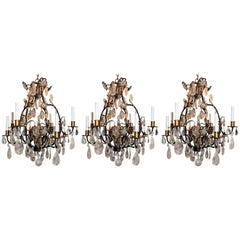 Wonderful Set Three 3 Bagues French Eight Light Rock Gilt Crystal Chandeliers