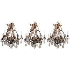 Wonderful Set Three 3 Bagues French Eight Light Gilt Rock Crystal Chandeliers