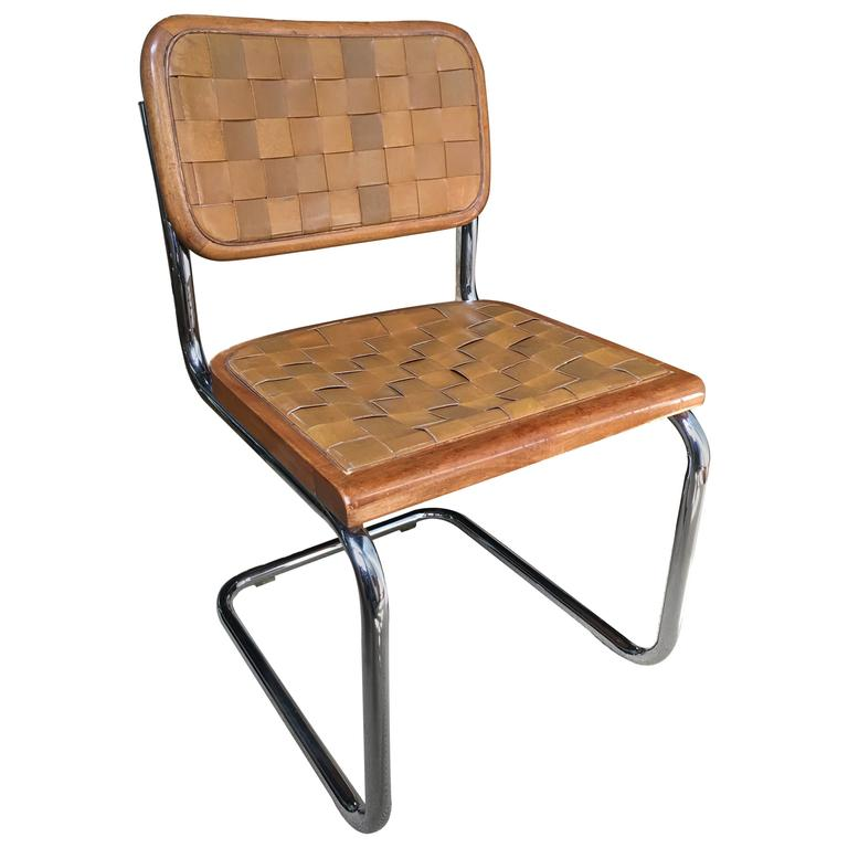 Mid Century Modern Cantilevered Leather Chair Marcel