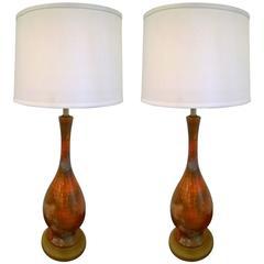Pair of 1960s Italian Art Pottery Table Lamps