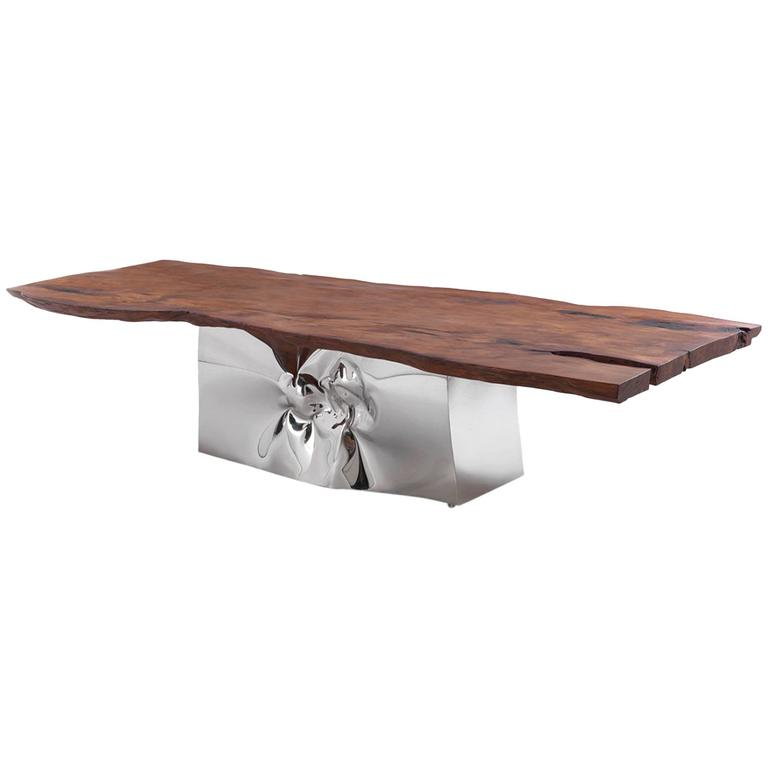 Dining Table LAGUNA, top in  KAURI wood, sculptured base in forged steel