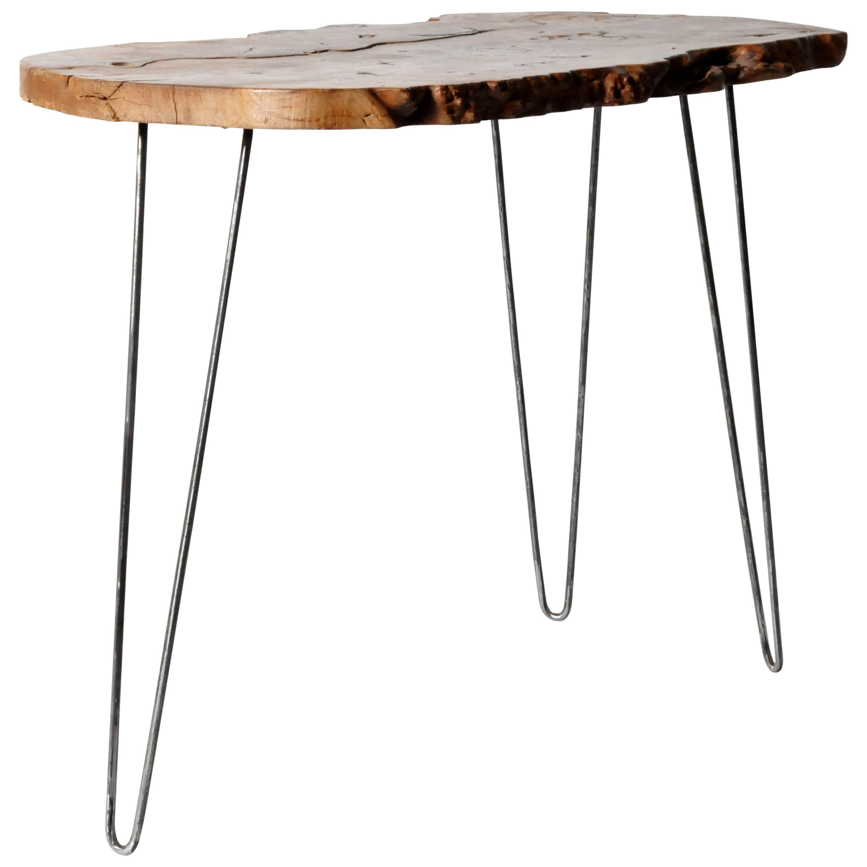 Reclaimed Walnut Slab Side Table