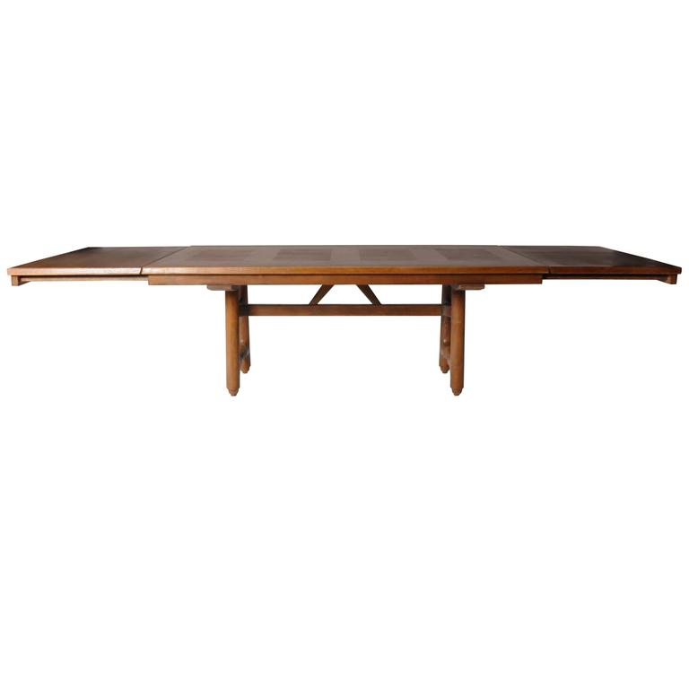 Mid-Century Modern Extension Dining Table attributed to Guillerme et Chambron
