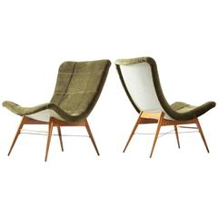 Pair of Easy Chairs in Green Fabric Upholstery