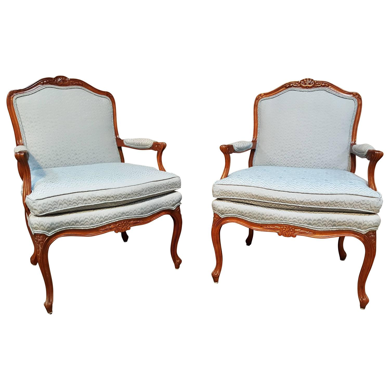 Pair Of Louis XV Style Bergere Lounge Chairs For Sale At