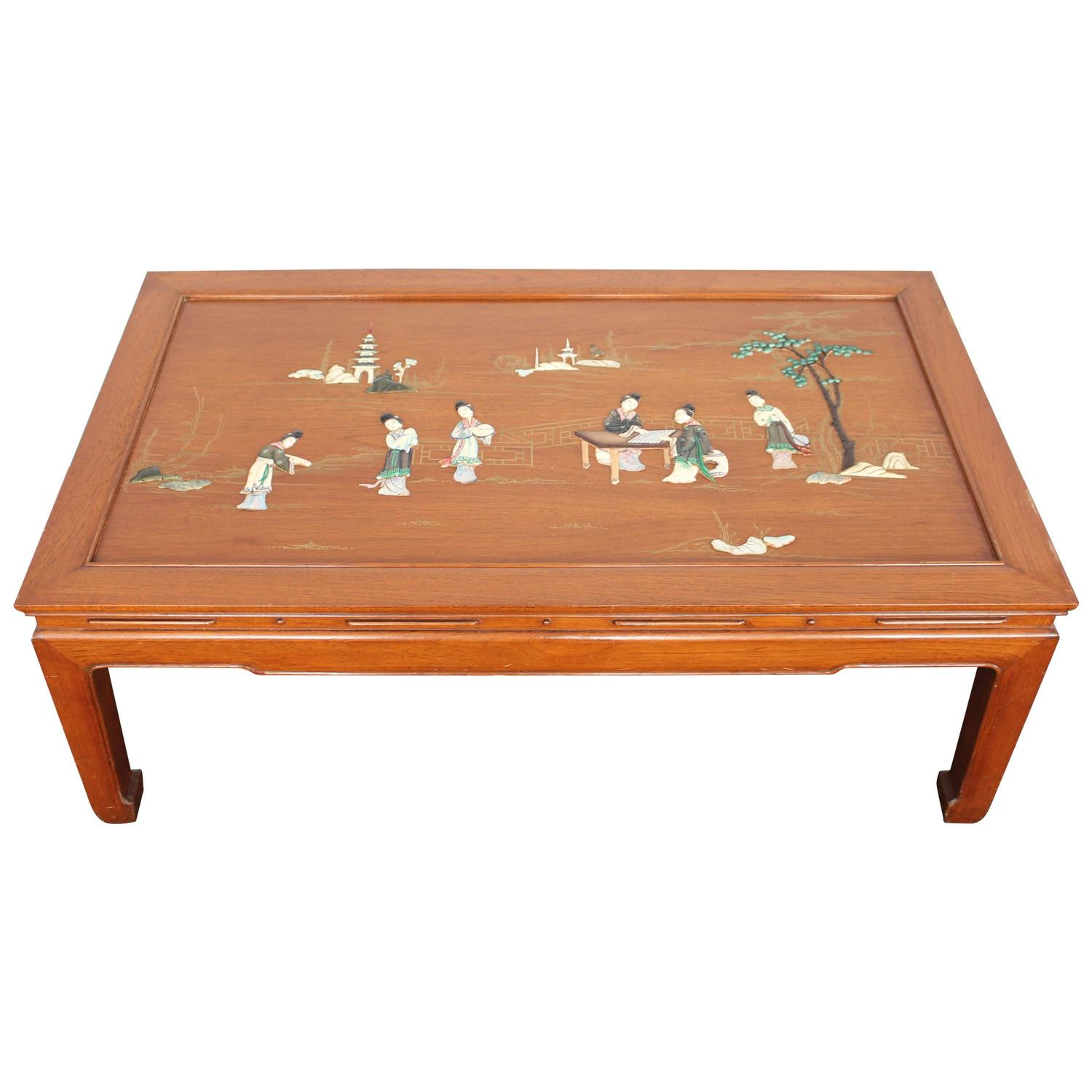 Mid-Century Chinese Scenic Inlay Rosewood Coffee Table For