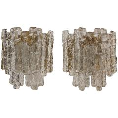 Grand Five-Panel Kalmar Ice Glass Sconces with Gold Tone Backplate (2 Pairs)