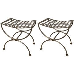 Pair of Brass-Trimmed Steel Lattice Benches